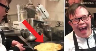 Het lijkt erop dat deze leerling-kok een ramp gaat veroorzaken, maar niets is minder waar!