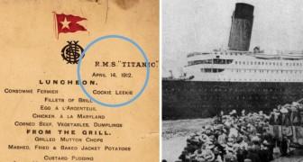 Dit zijn de menu's van de 1e, 2e en 3e klasse aan boord van de Titanic