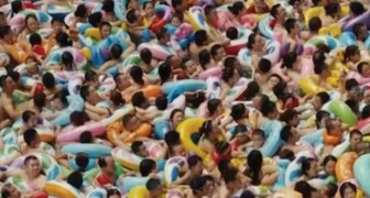Welcome to a humongous Chinese swimming pool party!