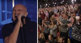 Han sjunger den här låten från 1980: hans tolkning får alla i publiken att resa sig upp