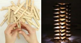 Como criar um abajur decorativo com prendedores de madeira: tão simples quanto bonito!