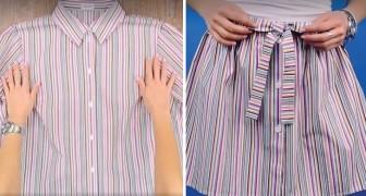 Transformar uma velha camisa em uma saia é mais fácil de quanto você pensa!