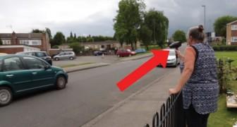 Die Fahrzeuge halten sich nicht an die Geschwindigkeitsbegrenzung: diese Frau greift mir einer außergewöhnlichen Methode ein