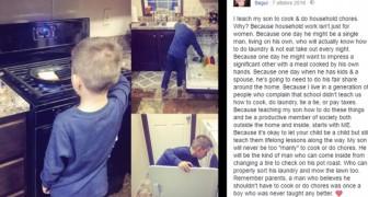 Deze moeder plaatst foto's van haar zoon die het huishouden doet en krijgt veel kritiek: haar antwoord kan je een voorbeeld aan nemen