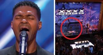 Sale sul palco con un brano di Whitney Houston... Quando tocca la nota più alta tutto lo studio è in piedi per lui!