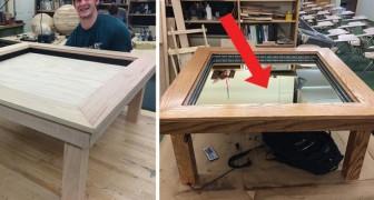 Een jongen maakt een salontafel, maar als hij op een knop drukt gebeurt er iets magisch