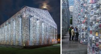 Sie baut aus 100.000 zensierten Büchern einen Parthenon an dem Punkt, an dem die Nazis 2000 Bücher verbrannten