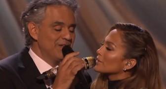 Andrea Bocelli e Jennifer Lopez cantam juntos um clássico da música: magníficos!
