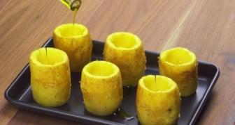 Elle vide les pommes de terre et les dispose sur un plat: la farce qu'elle choisit est à se lécher les babines