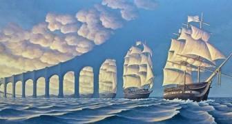 Den optiska illusionen i dessa målningar gör att du flyger iväg med fantasin