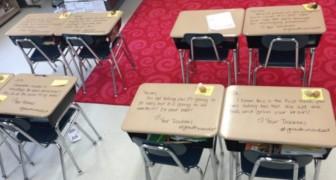 Die Schüler haben das Abschlussexamen: Als sie in den Klassenraum kommen, finden sie eine Überraschung des Lehrers vor