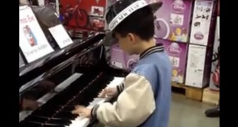 The little talent playing the piano