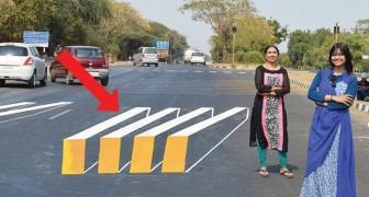 En la India el paso para peatones 3D hacen desacelerar a los conductores indisciplinados
