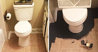 Cansada do seu banheiro, começou a pintá-lo com tinta preta: o resultado final é lindo!