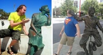 28 personer som vet hur man tar ett foto nära en staty