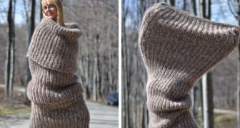 La moda dell'ultimo momento: sciarpe giganti che potrebbero essere indossate come vestiti