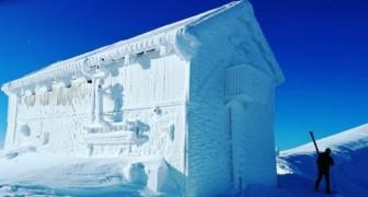 Spettacolo sul Gran Sasso: le temperature gelide trasformano il rifugio in un blocco di ghiaccio
