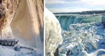 De vrieskou in Noord-Amerika verandert de Niagarawatervallen in een ijsspektakel