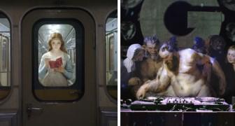 Il insère les personnages des peintures anciennes dans les scènes de la vie moderne: le résultat est étonnant