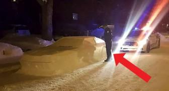 Estes policiais 'multaram' um carro feito de neve em modo muito divertido!