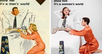 Ein Fotograf vertauscht die Rollen alter sexistischer Werbeplakate: Beurteilt das Resultat