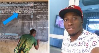 Deze Ghanese leraar heeft tot in de perfectie een Word-document nagemaakt voor zijn leerlingen