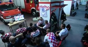 De får samtalet under matchens höjdpunkt: de kroatiska brandmännens reaktion har blivit viral