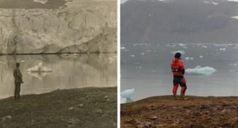 Ein Fotograf stellt einige Aufnahmen des Polarkreises vor 100 Jahren wieder her: der Vergleich ist alarmierend