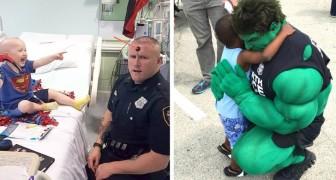 En el tiempo libre este policia se disfraza de superheroe para hacer sonreir a los niños enfermos