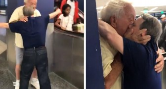 Ein Mann mit Down-Syndrom küsst seinen Vater am Flughafen: Die Geste der Zuneigung hat alle bewegt