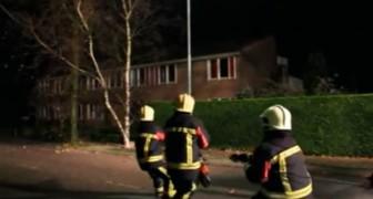 Enquanto puxam uma corda, os bombeiros sentem que alguém os está ajudando: quando descobrem quem é, não conseguem parar de rir