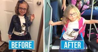 Bambini fotografati prima e dopo il primo giorno di scuola: le loro espressioni valgono più di mille parole