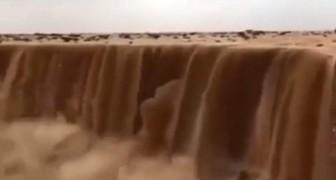 In Saoedi-Arabië zijn er watervallen van zand: spectaculair, maar net zo gevaarlijk