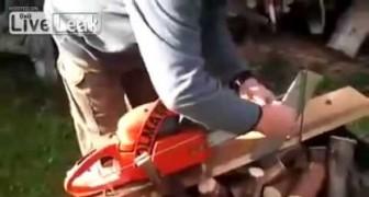 Novo método para cortar lenha com a motosserra