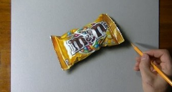 Once the drawing is finished we can unwrap this packet of M & M's