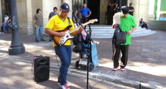 Amazing performance of sultans of swing in the streets of Sao Paulo
