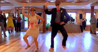 The groom and his mother reserve an epic dance performance!!