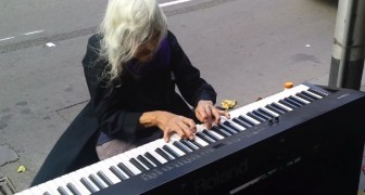 The performance of this 80 year old street artist is absolutely magical !