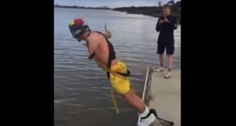 His friends promise him it's bungee jump, but the result is incredibly funny !!
