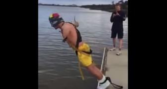Sus amigos le prometieron un salto con el elastico, pero la realidad es totalmente diferente!