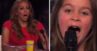 A 6 year old girl gets on stage, when she opens her mouth they're all shocked !!