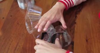 Um homem começa a unir copos: o resultado é uma grande surpresa