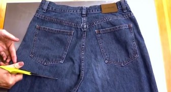 A woman cuts an old pair of jeans: what she creates is really clever!