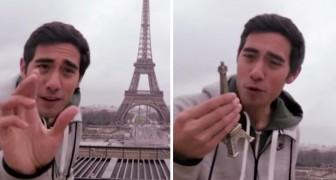Kijk wat deze man doet met de Eiffeltoren. Zijn talent is geniaal!