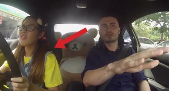 A girl gets in the car with the driving instructor: what happens next it will him SCREAM!
