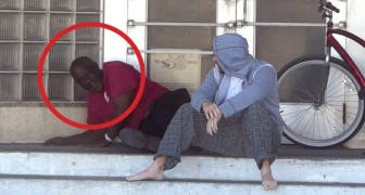 A man asks some homeless people for money...now watch what happens !