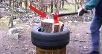 Voilà une méthode innovante pour couper un tronc en quelques secondes. Wow!
