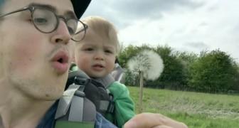 Papa will an der Pusteblume pusten, aber die Reaktion des Sohnes überrascht ihn!
