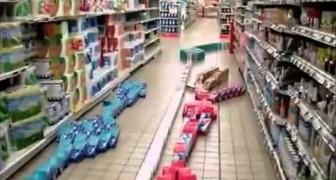 Domino al supermarket!