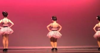 Três bailarinas se preparam no palco, mas aquela que está no centro vai te fazer sorrir!